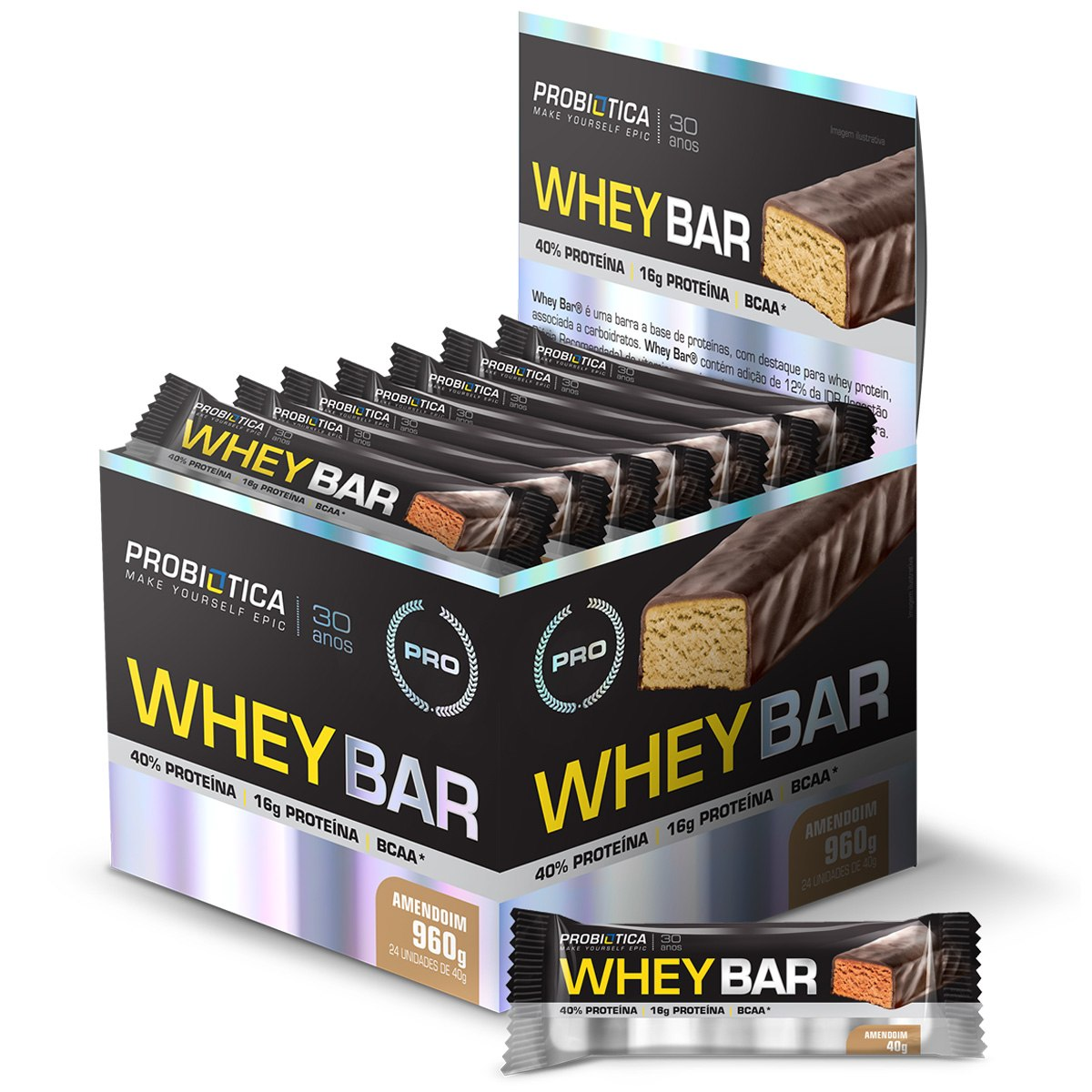 BARRA WHEY BAR PROBIOTICA AMENDOIM (cx 24x40g)