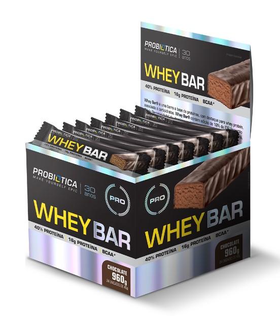 BARRA WHEY BAR CHOCOLATE PROBIOTICA (cx24x40g)