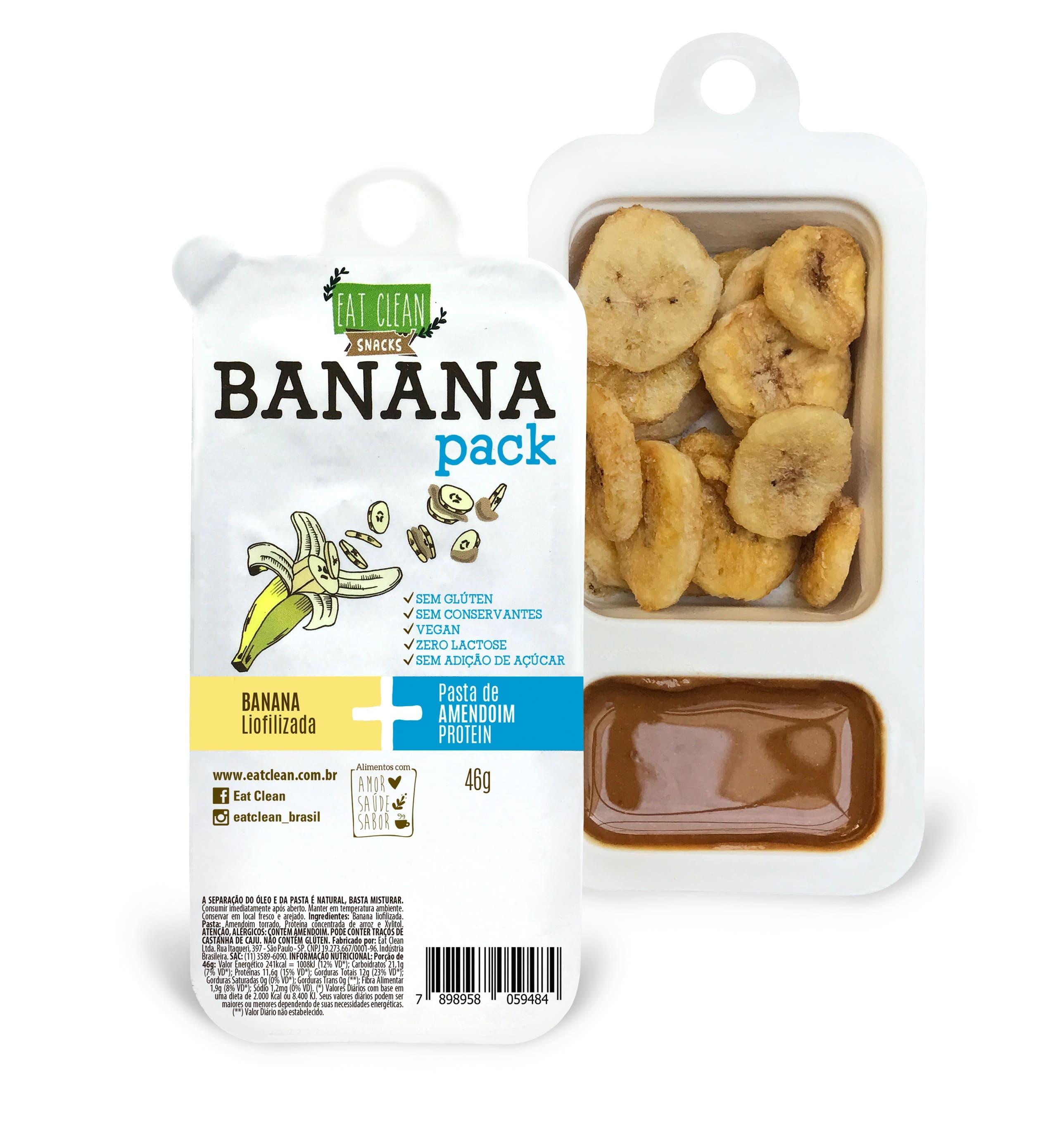 BANANA PACK(banana liofilizda c/pasta amendoim protein) 10x48g(eat clean)